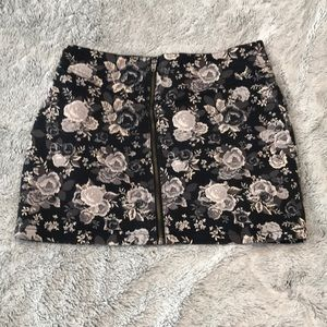 Denim Floral Mini Skirt